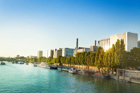 Seine river and quai de Bercy embarkment Paris
