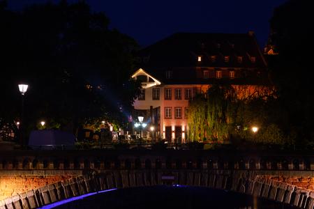 Grande Ile island embankment at night, Strasbourg Reklamní fotografie