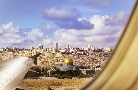 Israel Jerusalem city view from plane window Stock Photo