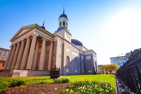 Baltimore Basilica against blue sky Maryland, USA