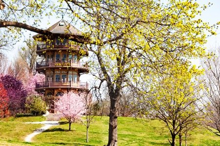 Patterson Park Pagoda tower in Spring, Baltimore