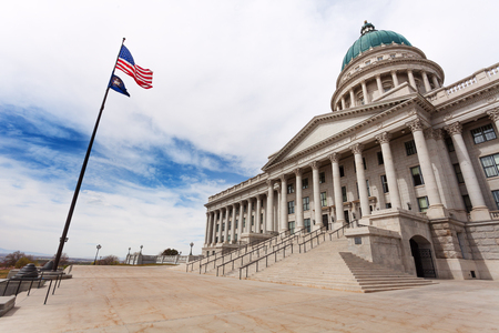 Utah Capitol building with American flag on sky Stock Photo - 117618979