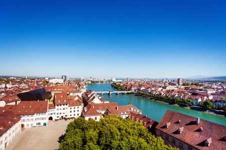 Basel cityscape and the Rhine river in Switzerland Stock Photo