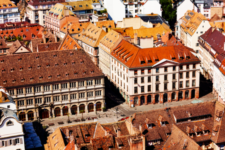 Roofs and small squares of Strasbourg, east France