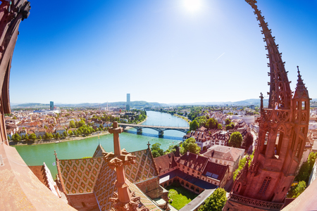 Basel city and Rhine viewed from Minster cathedral Stock Photo