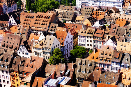 Roofs of houses in Strasbourg downtown center