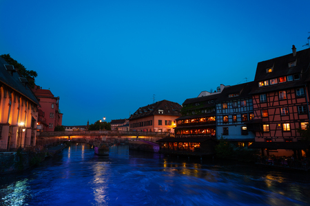 Night view of the Ill river embankment, Strasbourg Stock Photo