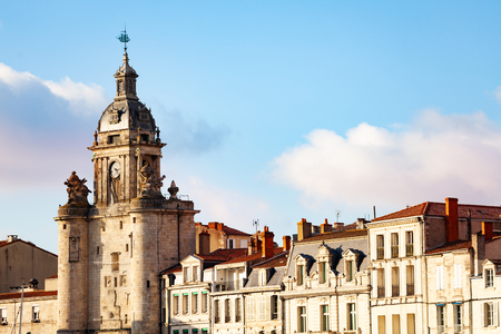 Close view of Clocktower, La Rochelle, France