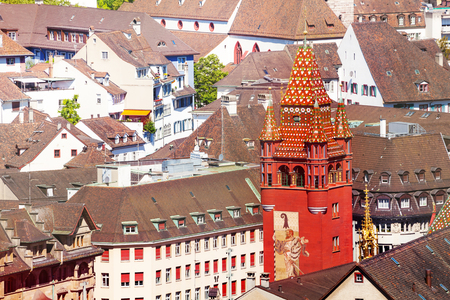 Basel cityscape with City Hall tower, Switzerland