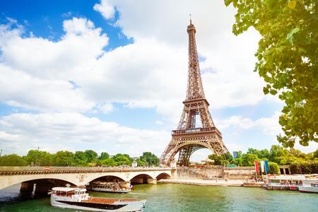 Boats, bridge Pont dIena and Eifel tower, Paris