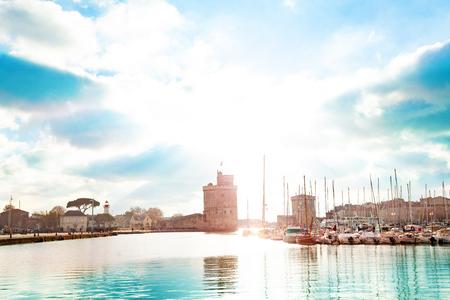 Harbor in city downtown of La Rochelle, France
