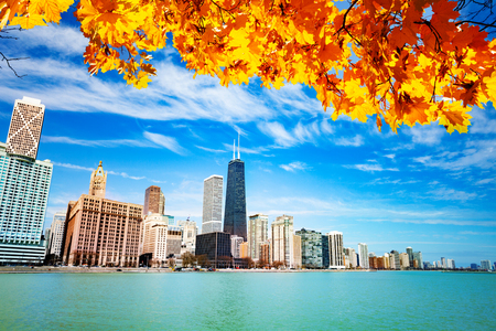 View on waterfront with autumn leaves Chicago