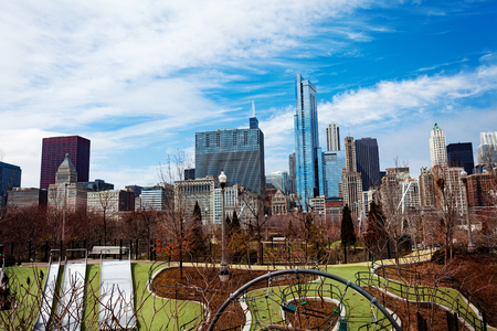 Park in downtown Chicago and city skyline