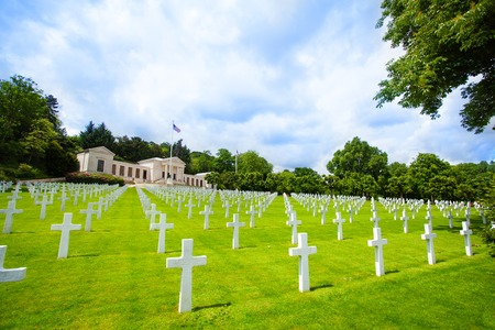 American cemetery near Paris WWII memorial, France