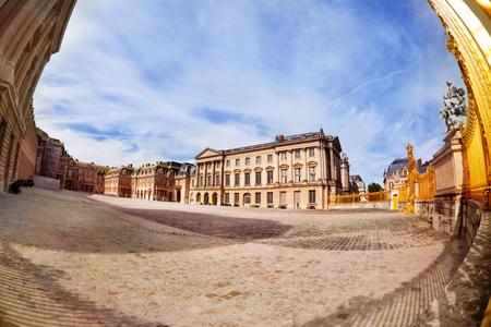 Versailles Palace courtyard at sunny day in France
