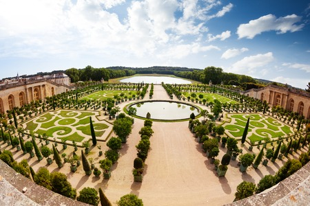 Beautiful perspective view of Versailles garden, France