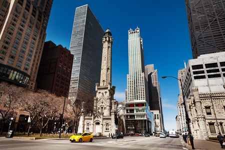 Chicago Water Tower landmark intersection, USA