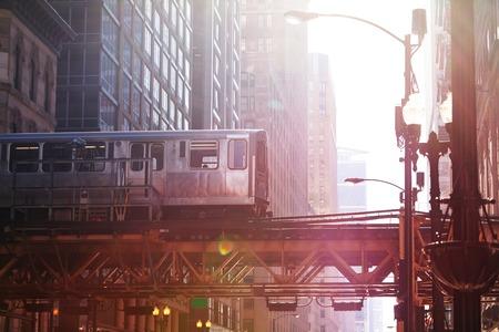 Chicago metro train on the bridge in downtown