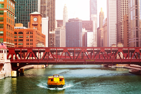 Taxi shuttle bus boat and bridges Chicago downtown