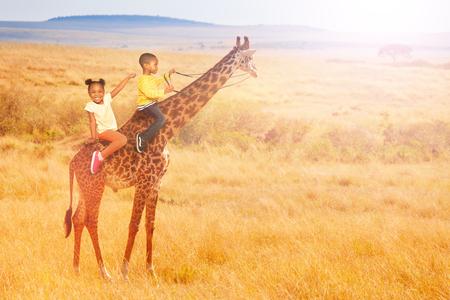 Two little black kids ride a giraffe in Africa