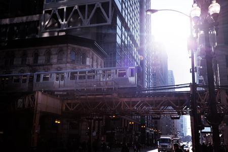 Train of city metro transport system in Chicago