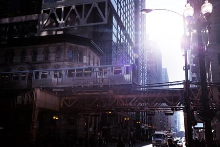 Treno del sistema di trasporto della metropolitana cittadina a Chicago Archivio Fotografico