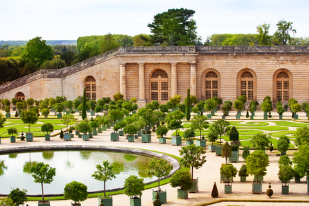 Versailles gardens with orange trees and fountain