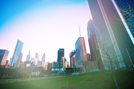 Sunset in Chicago downtown park of Maggie Daley