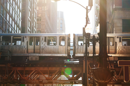 Close up of metro train cars in Chicago Banque d'images - 120595125