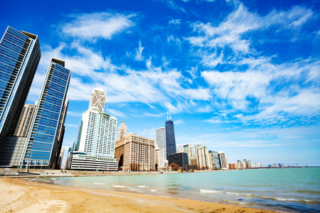 Beach on lake of Michigan in Chicago downtown Stock Photo - 120595128