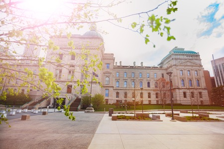 Indiana Capitol building in spring, Indianapolis Stock Photo
