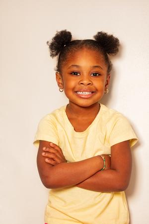 Close portrait of happy little black girl smile
