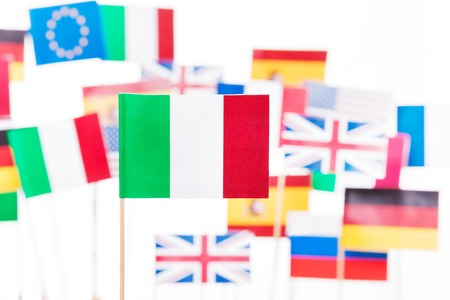 Flag of Italy against EU member-states flags Stock Photo