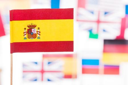 Flag of Spain against European Union members flags Stock Photo