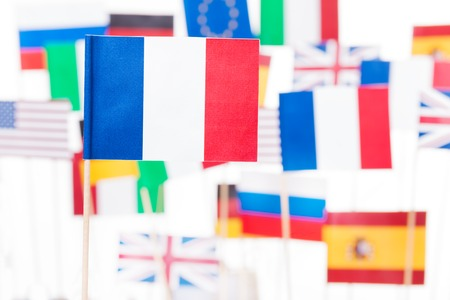 French flag against flags of EU member-states