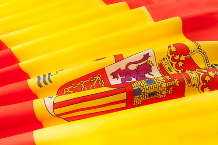 Close-up picture of silky pleated bunting of Spain with emblem Stock Photo