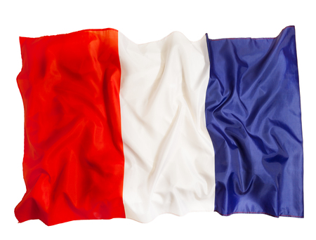 French national flag of silk waving on white background