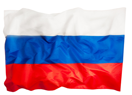 Close-up picture of big silky ruffled Russian flag