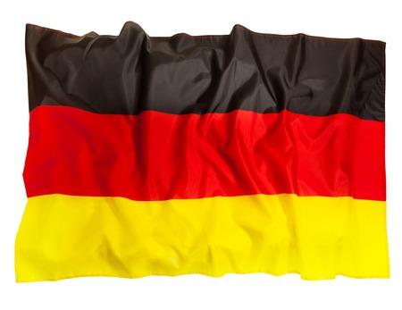 Ruffled Germany flag of silk, isolated on white