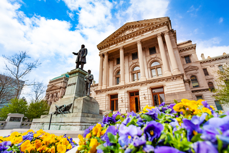 Morton statue in front of Indiana Statehouse, USA Stock Photo