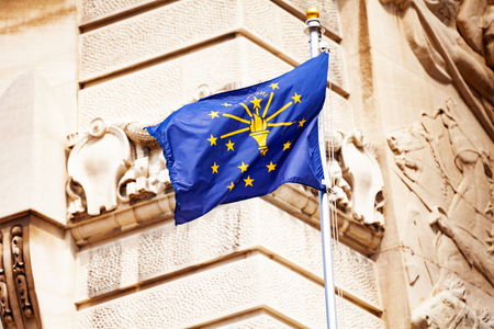 Indiana flag against Soldiers and Sailors monument Stock Photo - 123428510