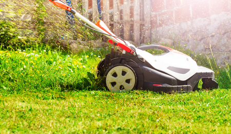 Electricity powered lawnmower cutting fresh grass on lawn