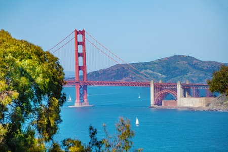 Beautiful seascape of San Francisco bay and Golden Gate Bridge with Fort Point fortification, USA