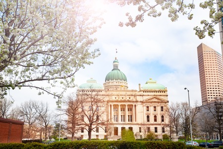 Facade of the Indiana Statehouse building in spring, Indianapolis, USA Stock Photo - 123428941