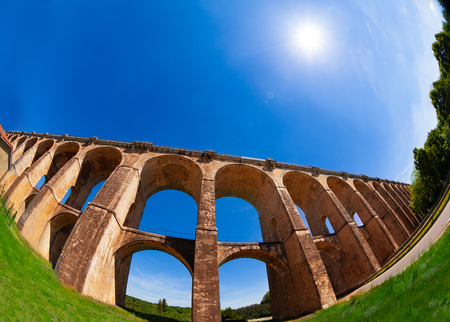 Fish eye picture of the Suize Valley with famous viaduct of Chaumont in France