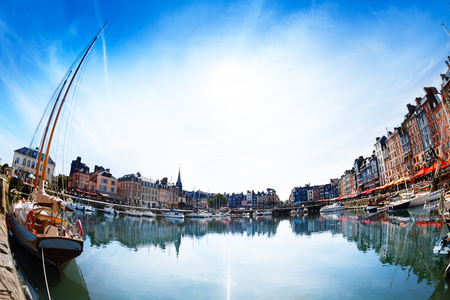 Panoramic view of Honfleur skyline at sunny day