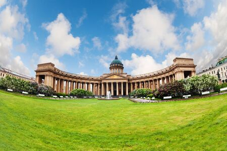 Kazan Cathedral in St. Petersburg at sunny day