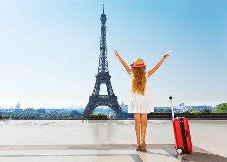Little traveler during summer vacation in Paris