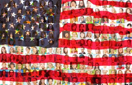USA flag with portraits of American people Stock Photo