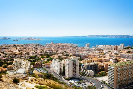Aerial view of Marseille and its harbor, France Banco de Imagens